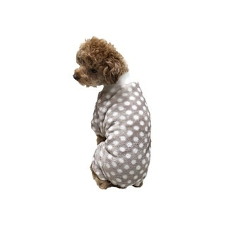 Anima Grey/White Super Soft Fleece Checks Overall Sleeping Wear for Small Breeds Dogs Puppy