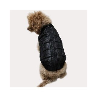 Anima Black Comfort Winter Quilted Back Zipper Vest Coat with Fur Knitting Collar for Dogs Puppy Pets