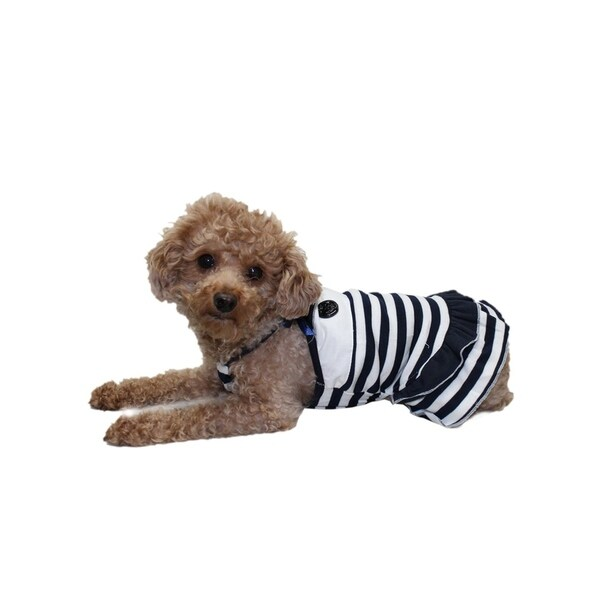 Anima Navy Blue Cute Knitted Cotton Sailor Girl Dress for Puppy Small Dogs  (Machine Washable)