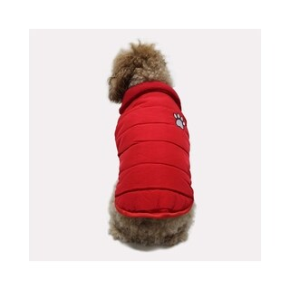 Anima Red Soft Winter Quilted Pleather Vest with Interior Fleece, Fur Collar for Small/Toy Breed Dogs (Machine Washable)