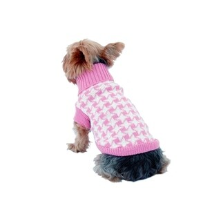 Anima Pink/White Winter Knit Houndstooth Sweater for Pet Dogs Puppy