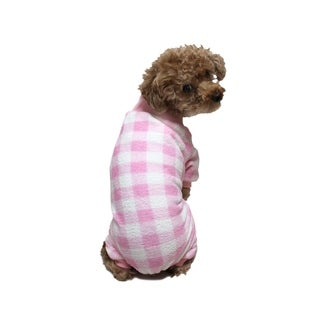 Anima Pink/White Super Soft Fleece Checks Overall Sleeping Wear for Small Breeds Dogs Puppy