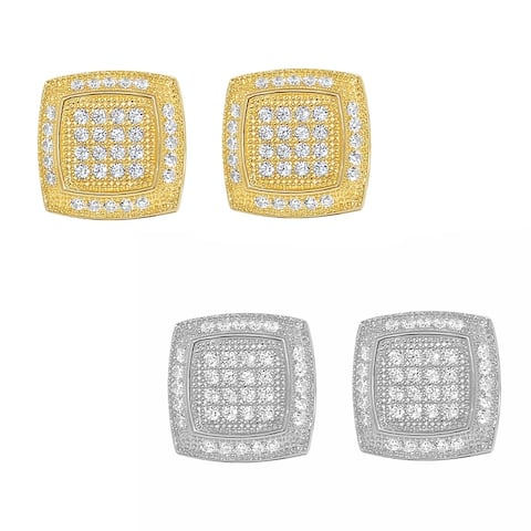 14k Gold 10-mm Pave'-set Cubic Zirconia Square Earrings