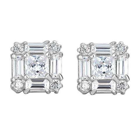 14k Gold 9.3-mm Princess and Baguette-cut Cubic Zirconia Earrings
