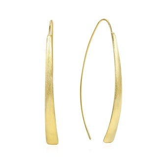 Handmade Minimalist Curve Gold Over Sterling Silver Slide Through Dangle Earrings (Thailand)