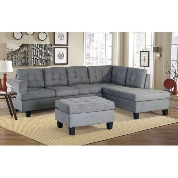 Harperbright Designs 3 Piece Sectional Sofa With Chaise And Ottoman