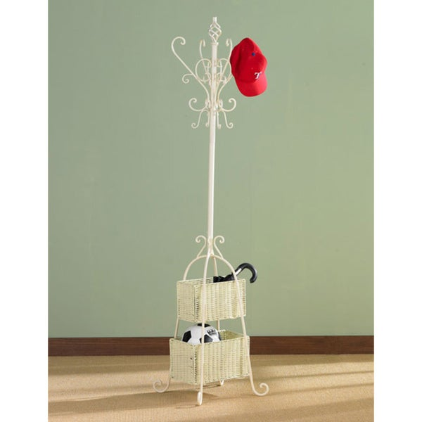 Harper Blvd Ivory Iron Hall Tree with Rattan Baskets