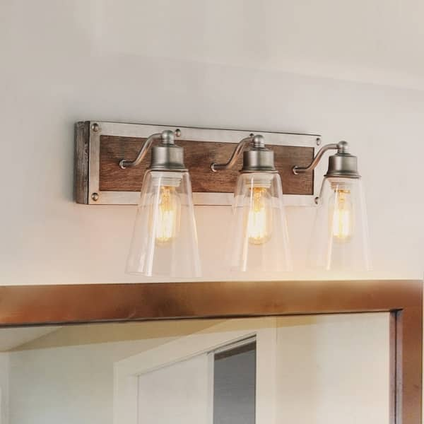 Shop Lnc 3 Light Wood Wall Sconces Rustic Bathroom Vanity