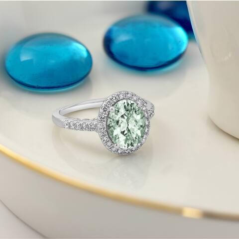 Auriya 1 3/4ct Fancy Oval-Cut Green Amethyst and 3/8ctw Halo Diamond Engagement Ring 14k Gold