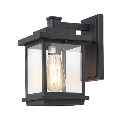 "LNC Modern Farmhouse Aluminum 1-light Porch Patio Garden Black Outdoor Wall Sconce - L6.7""X W9.1"" X H11.8"""