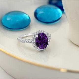 Auriya 1 3 4ct Oval Purple Amethyst And Halo Diamond Engagement Ring 3 8ctw 14k Gold