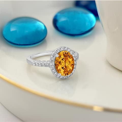 Auriya 3ct Oval-Cut Citrine and 3/8ctw Halo Diamond Engagement Ring 14kt Gold