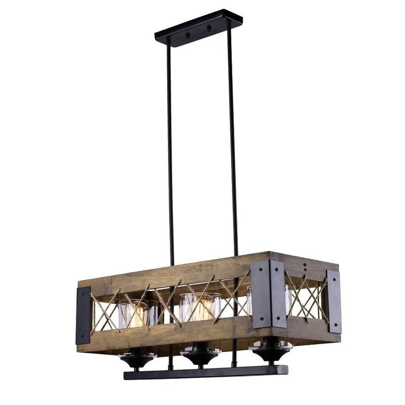 Lnc 3 Light Rustic Wood Kitchen Island Lighting Chandeliers
