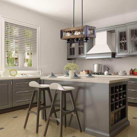 "LNC 3-Light Rustic Wood Kitchen Island Lighting Farmhouse Chandeliers - 23.5""x10.25""x7"""