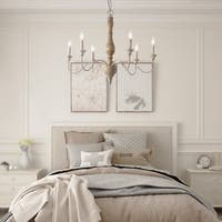 LNC French Country Off-white Iron 6-Light Chandelier