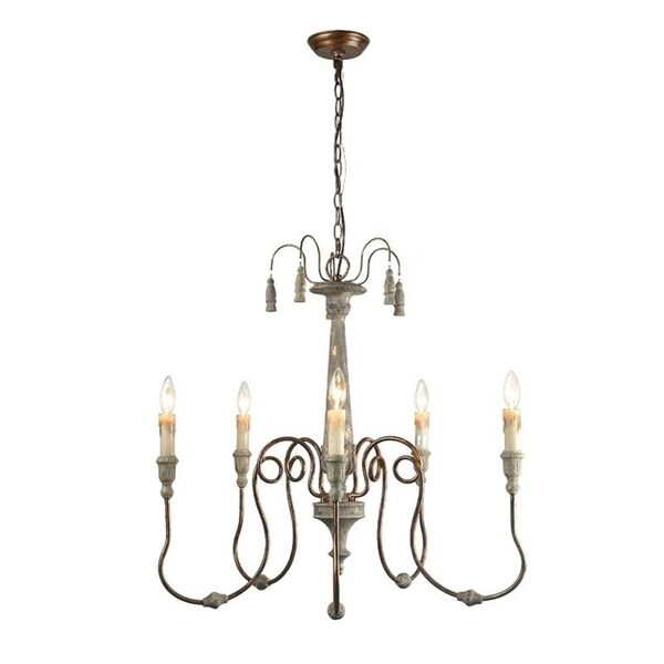 LNC Antique White Steel/Resin 5-light Distressed French-country Chandelier - Shop LNC Antique White Steel/Resin 5-light Distressed French-country