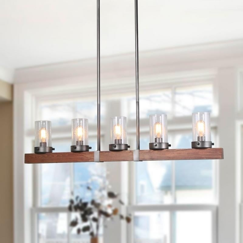 LNC 5-Light Wood Linear Kitchen Island Chandeliers