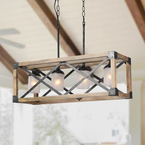 "LNC Rustic Chandelier 4-Light Linear Kitchen Island Lighting - L27.6""X W9.8"" X H9.8"""
