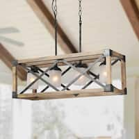 LNC Rustic Kitchen Island Black Steel/Distressed Wood Frame 4-light Linear Chandelier with Frosted Opal Cylinder Shades