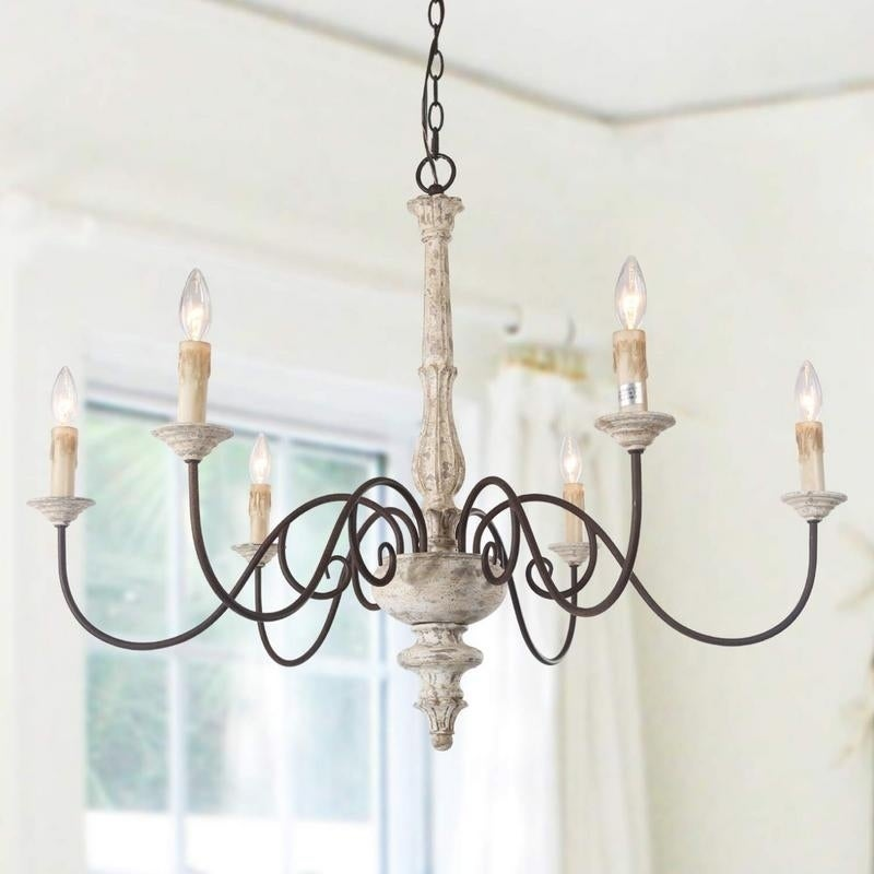 6 Light Persian White French Country Chandelier Rustic Wood D37 H28