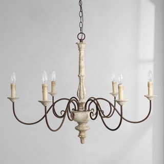 """Farmhouse 6-Light Persian White French Country Chandelier Rustic Wood - D37""""*H28"""""""