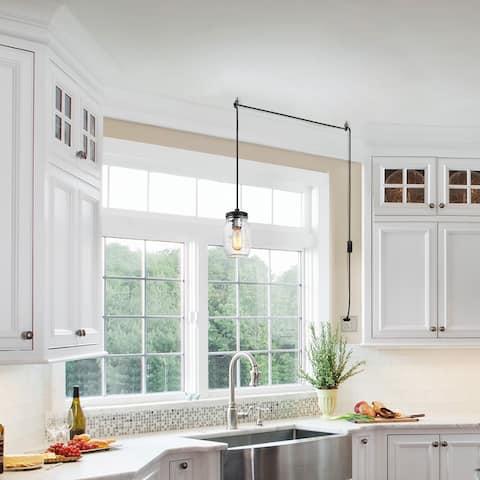 "LNC Modern Farmhouse 1-light Plug-in Clear Glass Jar Pendant Light - W 5""x H 46.375"""