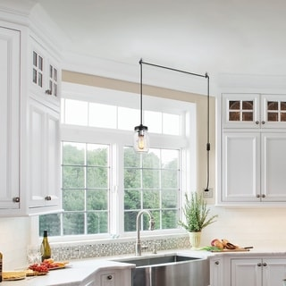 "Link to LNC Modern Farmhouse 1-Light Plug-in Clear Glass Jar Pendant Lighting - W 5""x H 46.375"" Similar Items in Pendant Lights"