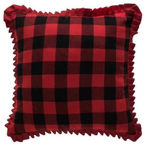 Farmhouse Plaid Fringe Throw Pillow