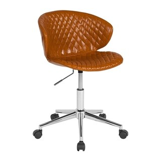 Offex Home and Office Adjustable Height Upholstered Mid Back Chair in Saddle Vinyl