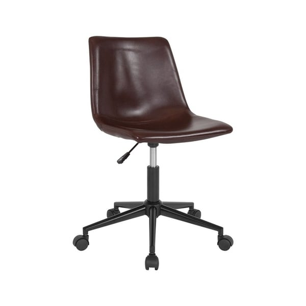 Offex Home and Office Contemporary Ergonomic Task Chair in Brown Leather