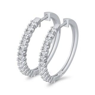 14K White Gold 1/2ct TDW Diamond Hoop Earring (J-K, SI)
