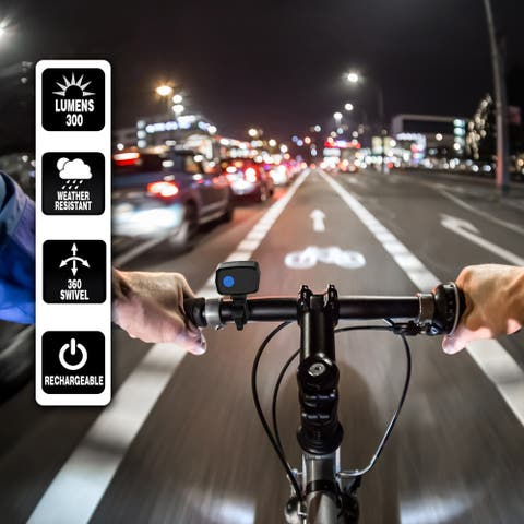 Bike Light-LED Front Bicycle Headlight-Bright USB Rechargeable Handlebar Lamp, Detachable for Road Safety by Wakeman Outdoors