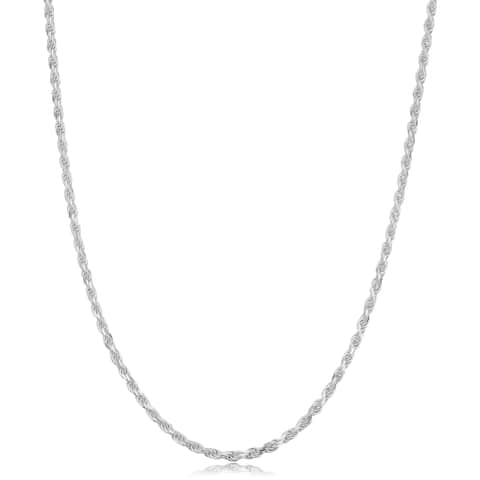 Sterling Silver 1.7 millimeter Diamond Cut Rope Necklace (14-30 inch)