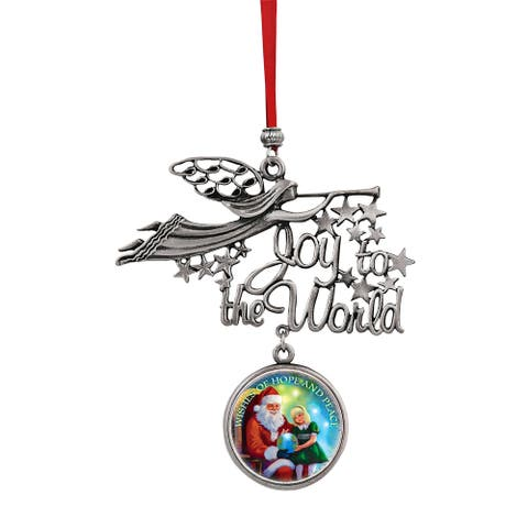 Joy to the World Santa Wishes of Hope & Peace JFK Half Dollar Ornament
