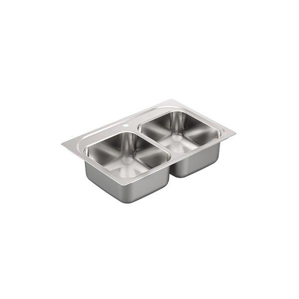 "Moen 2000 Series 33""X22"" Stainless Steel 20 Gauge Double Bowl Drop In Sink"