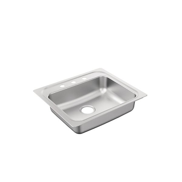 "Moen 2200 Series 25""X22"" Stainless Steel 22 Gauge Single Bowl Drop In Sink"