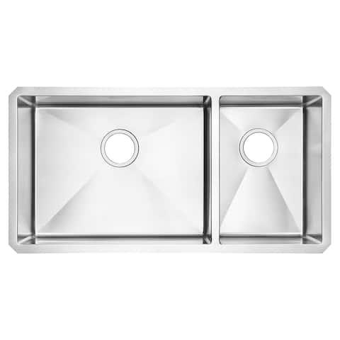 American Standard Pekoe 35x18 Offset Double Bowl Stainless Steel Kitchen Sink
