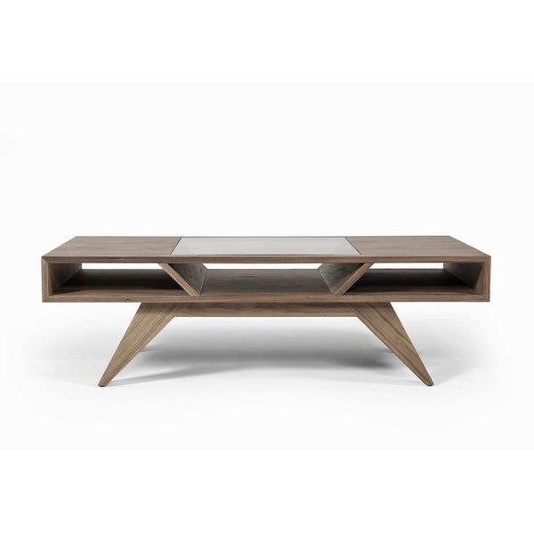 Modrest Upton Modern Square Glass Coffee Table Coffee: Shop Modrest Dublin Modern Walnut Coffee Table