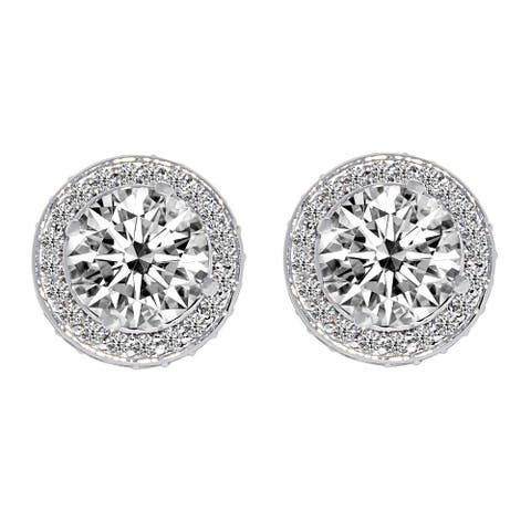 14k White Gold Round-cut Halo Crown Cubic Zirconia Earrings