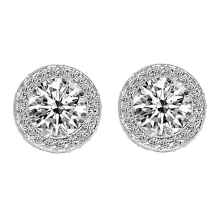 Link to 14k White Gold Round-cut Halo Crown Cubic Zirconia Earrings Similar Items in Earrings