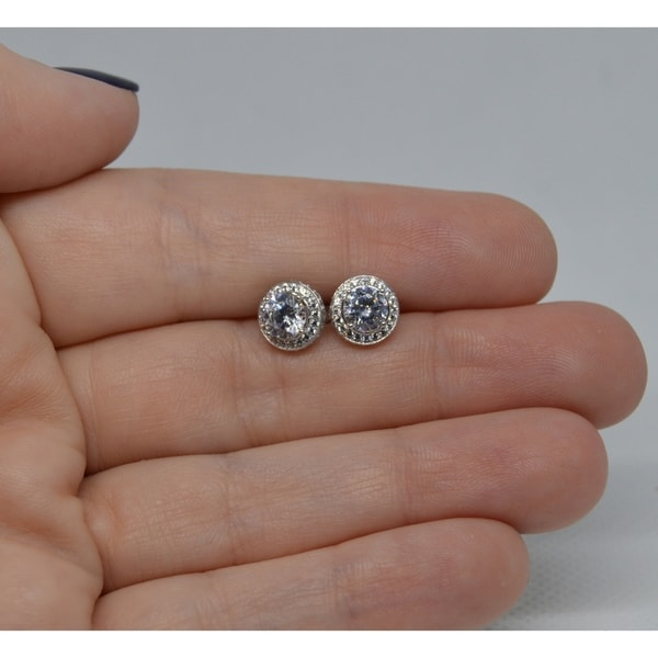 Round Cubic Zirconia Cluster Flower Stud Earrings for Women Girls Teen 14k Gold Plated