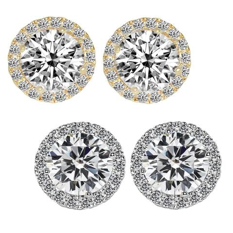 14k Gold Round-cut Halo Cubic Zirconia Earrings
