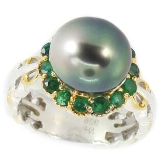Michael Valitutti Palladium Silver Round Grey Tahitian Cultured Pearl & Zambian Emerald Halo Ring