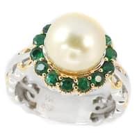 Michael Valitutti Palladium Silver Round Golden South Sea Cultured Pearl & Zambian Emerald Halo Ring