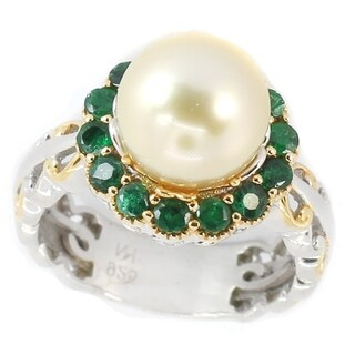 Michael Valitutti Palladium Silver Round Golden South Sea Cultured Pearl & Zambian Emerald Halo Ring