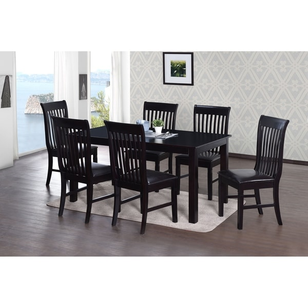 Transitional Eco-Friendly Black Indoor 7-pc Dining Set with Rectangular Table and 6 Upholstered Chairs with Curved Comfort Backs
