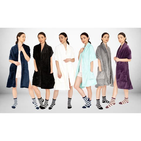 Chic Home Roux Robe Ultra Plush Flannel Fleece Blanket with Socks