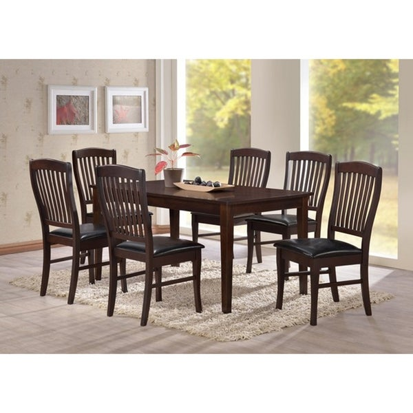Transitional Eco-Friendly Brown Indoor 7-pc Dining Set with Rectangular Table and 6 Upholstered Chairs with Curved Comfort Backs
