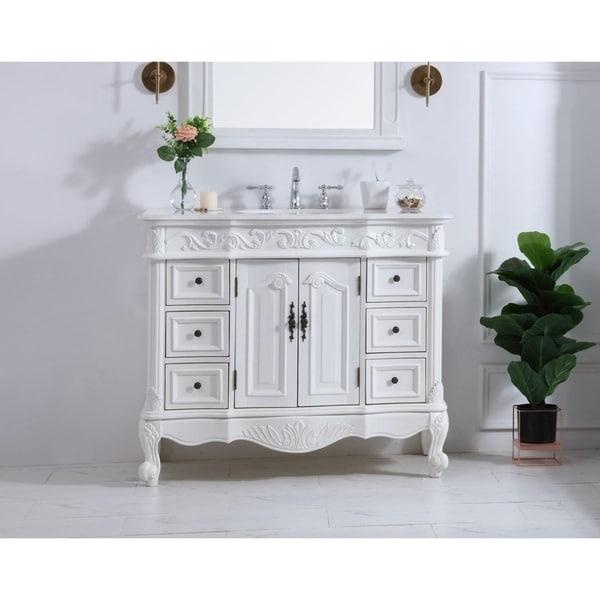 Vintage Bathroom Vanity Set: Shop Indigo Home Antique White 42-inch Single Bathroom
