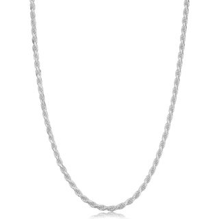 Sterling Silver 2.3 millimeter Diamond Cut Rope Necklace (14-30 inch)